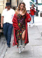 dress,slit,slit dress,boots,metallic,silver boots,rita ora,coat