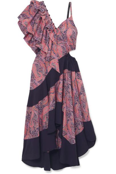 Loewe - Cold-shoulder Ruffled Printed Cotton-jersey Maxi Dress - Lavender