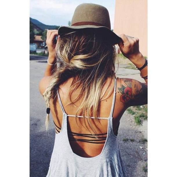 top relaxed fashion grey strappy top boho
