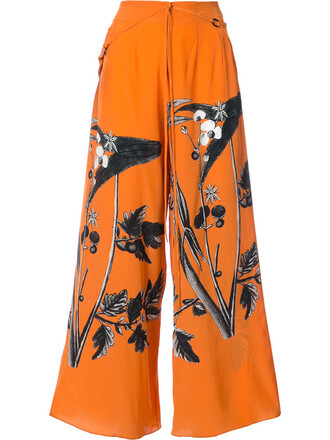 pants palazzo pants women silk yellow orange