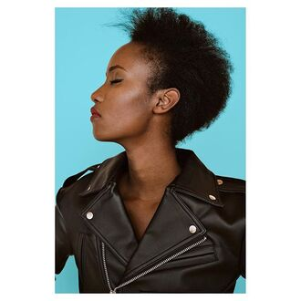 jacket nastygal cropped moto leather asymmetrical blogger model festival make-up leather jacket black girls killin it