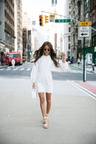lefashion blogger sunglasses dress bag white dress summer dress summer outfits sandals