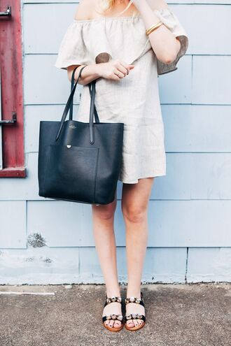 shoes linen cold shoulder jeweled sandals sandals flat sandals black sandals dress grey dress linen dress off the shoulder dress bag black bag summer dress summer outfits