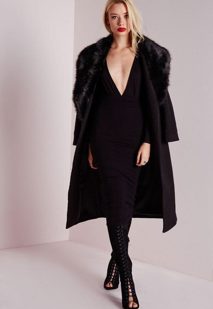 coat missguided fur black coat