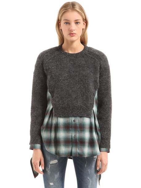 DSQUARED2 Layered Sweater Plaid Shirt Dress in grey / green