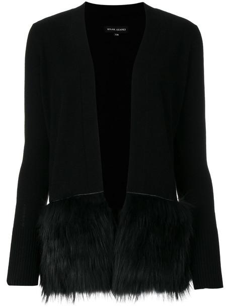 Izaak Azanei cardigan fur trim cardigan cardigan fur women black sweater