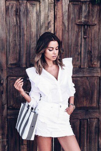 shirt tumblr white shirt ruffle ruffle shirt skirt mini skirt white skirt bag stripes striped bag all white everything