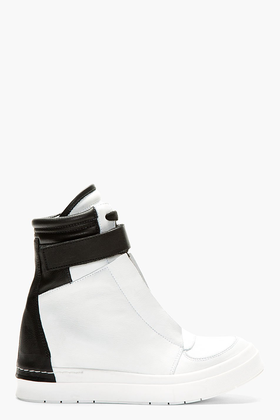 Ca by cinzia araia white and black hidden wedge new skin velcro sneakers