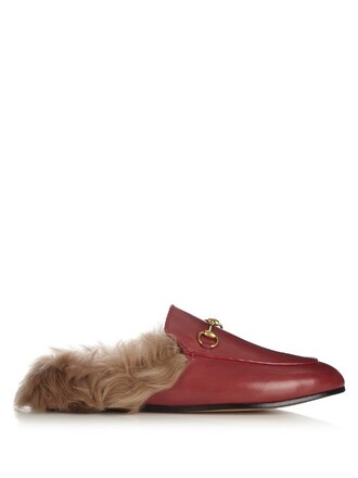 fur backless loafers leather red shoes