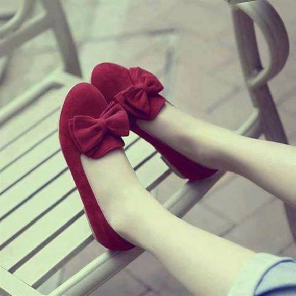 shoes bow cute red