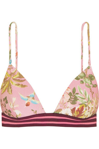bikini bikini top triangle bikini triangle baby floral print pink baby pink swimwear