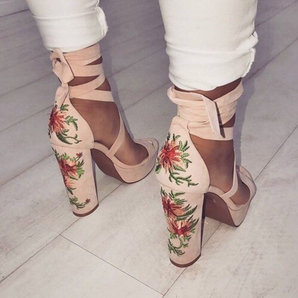 Shoes: nude, flower shoes, nude pumps, nude heels, flowers ...