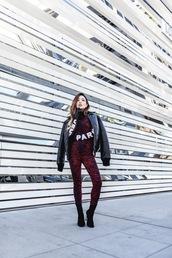 feral creature,blogger,jacket,sweater,leggings,gloves,kenzo,leather gloves,bomber jacket,velvet,print,sock boots