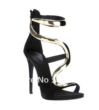 2013 hot design gold snake sandals for women black suede gold buckle dress shoes for lady gold ankle buckle-in Pumps from Shoes on Aliexpress.com