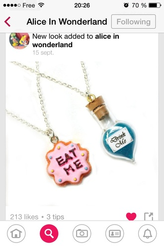jewels alice in wonderland alice wonderland cool necklace film eat me drink me beautifull cute pinky blue funny disney drink eat food