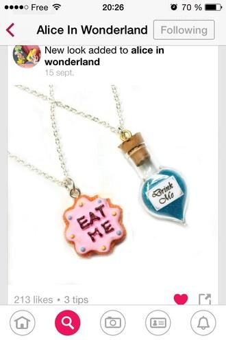 jewels alice in wonderland alice wonderland cool necklace film eat me drink me beautifull cute pinky blue funny disney drink eat food