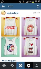 t-shirt,amazing,donut,cocacola,starbucks coffee,nutella
