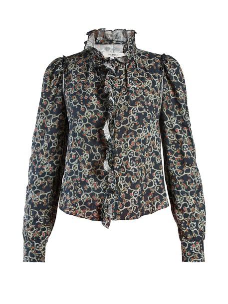 Isabel Marant etoile blouse ruffle floral print black top