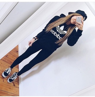 sweater adidas black white shirt hoodie adidas sweater grunge dark cute pastel japan light goth hipster emo 90s style