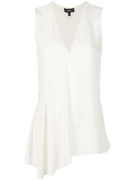 theory blouse ruffle women nude silk top