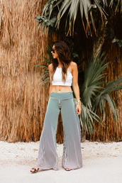 top,tumblr,white top,off the shoulder,off the shoulder top,crop tops,pants,wide-leg pants,stripes,striped pants,summer outfits,shoes
