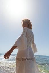 dress,tumblr,midi dress,white dress,long sleeves,long sleeve dress,bell sleeves,bell sleeve dress