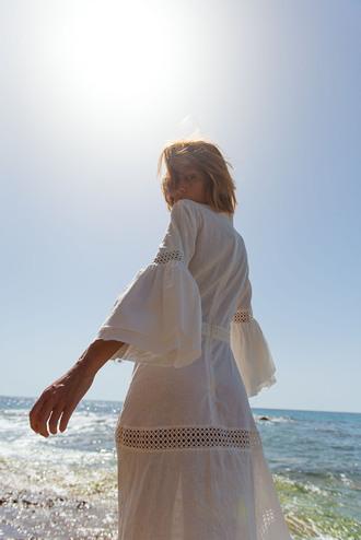 dress tumblr midi dress white dress long sleeves long sleeve dress bell sleeves bell sleeve dress