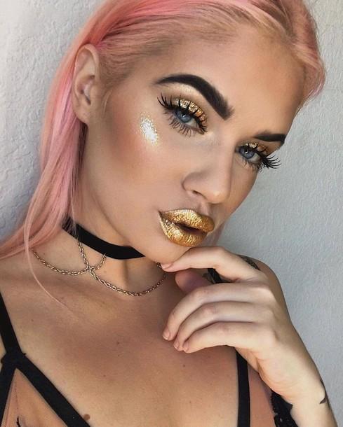 Make-up: metallic lipstick, metallic, gold, lipstick, lips, eye ...