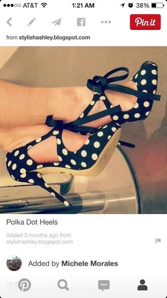 shoes high heels polka dot bow