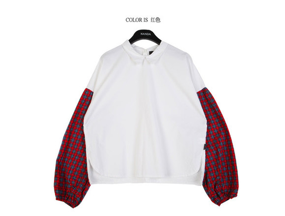 korean korea koreanfashion stylenanda shirt fashion blouse top tops blouses mcclaugherty manila philippines tee t-shirt stylenandaoverrun plaid plaids collar collarplaidtop asianfashions overrun overruns manilka red bluegreen
