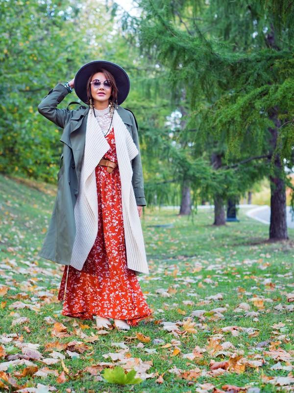 gvozdishe blogger coat dress cardigan hat shoes sunglasses fall outfits red dress maxi dress