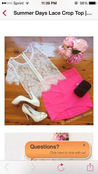 shirt white bag shoes outfit summer girly lace pink skirt pretty clothes high heels clutch lace shirt cream pink skirt