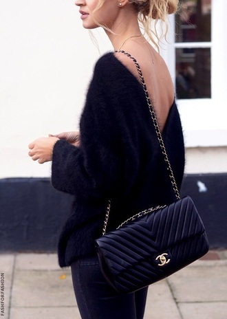cardigan top pullover fuzzy sweater chanel bag