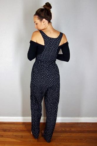 jumpsuit jumper overalls vintage black summer hipster retro polka dots geometric dress models street stile cute grunge