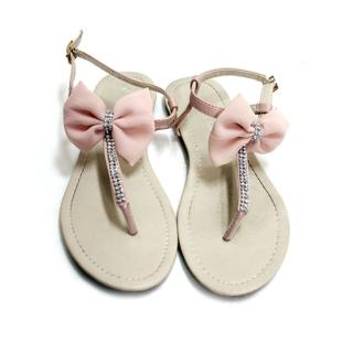 YESSTYLE: Cara- Bow Sandals (Pink - 240) - Free International Shipping on orders over $150