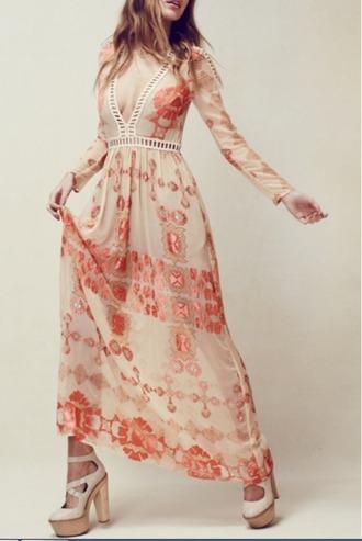 dress mynystyle maxi dress peach chiffon casual chic trendy heels elegant style maxi skirt
