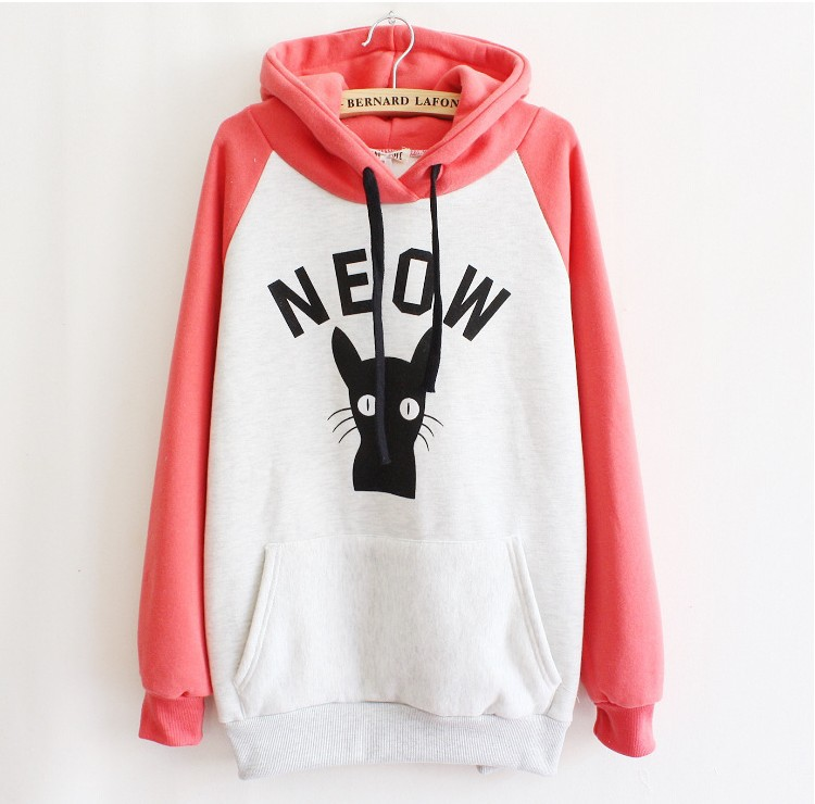 Cartoon NEOW cat print 2014 Autumn winter fashion women's cotton hooded hoodies fleece warm sweatshirts front pockets free-in Hoodies & Sweatshirts from Apparel & Accessories on Aliexpress.com | Alibaba Group