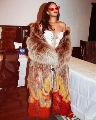 top bustier lace up rihanna fur fur coat instagram sunglasses