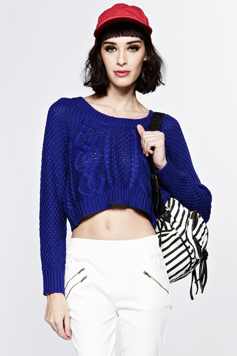 Judy knit cobalt blue cropped sweater