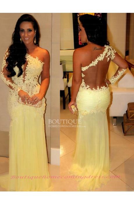 Sheath/column chiffon one shoulder 2015 prom dress