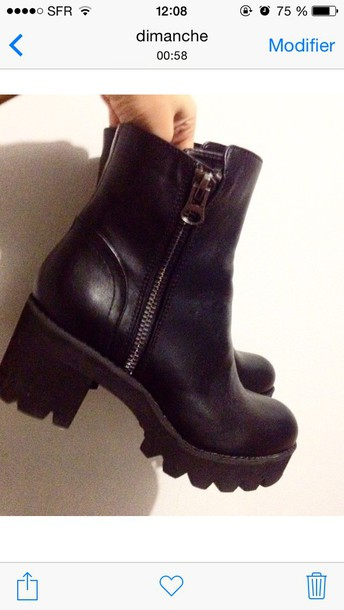 shoes black boots low boots chunky boots black leather