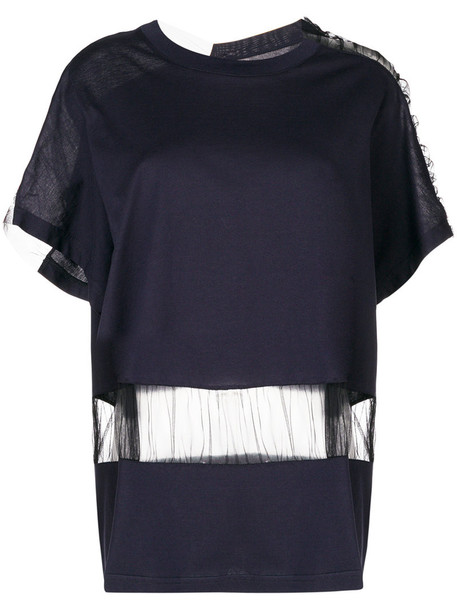 MAISON MARGIELA oversized women cotton blue top