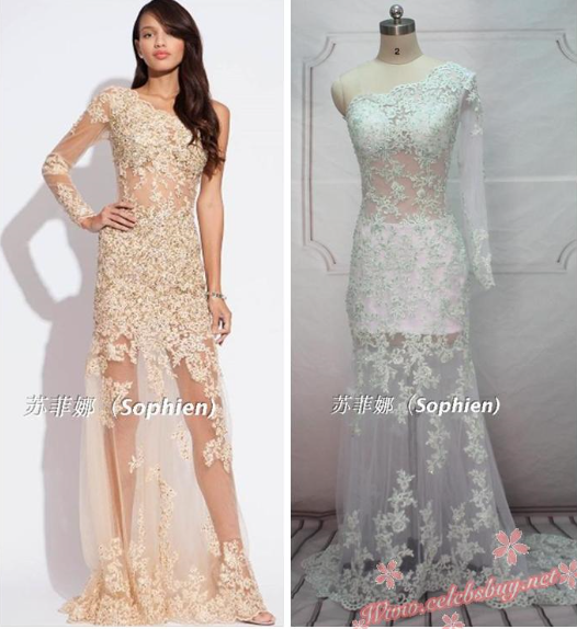 Cheap prom dress: celebrity white lace one shoulder prom dress $159.99 each at celebsbuy.net