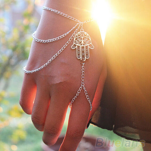 Asymmetric Men Women Hamsa Fatima Bracelet Finger Ring Slave Chain Hand Harness