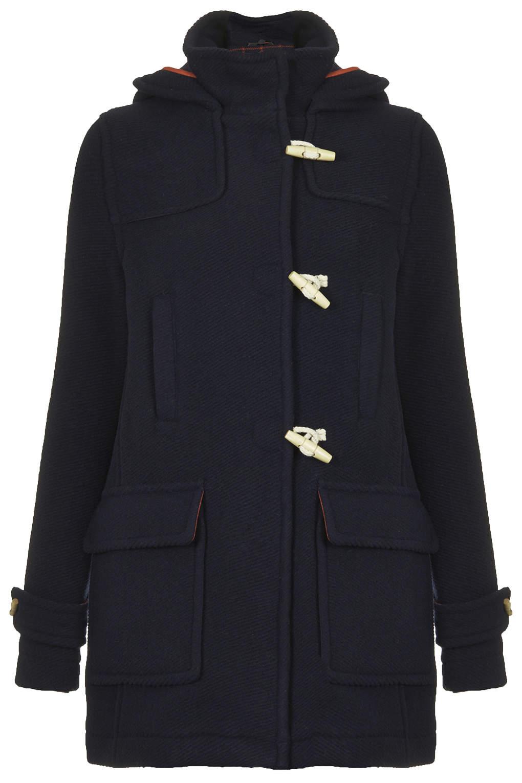 Bound seam wool duffle coat