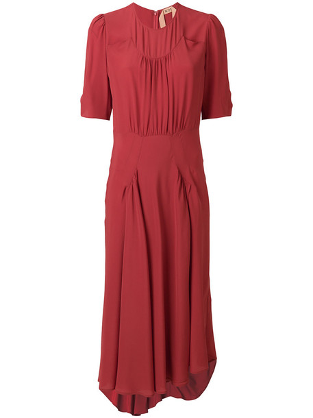 No21 dress women silk red