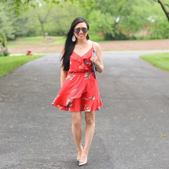morepiecesofme blogger sunglasses jewels tank top bag dress shoes red dress mini dress clutch summer dress summer outfits floral wrap dress