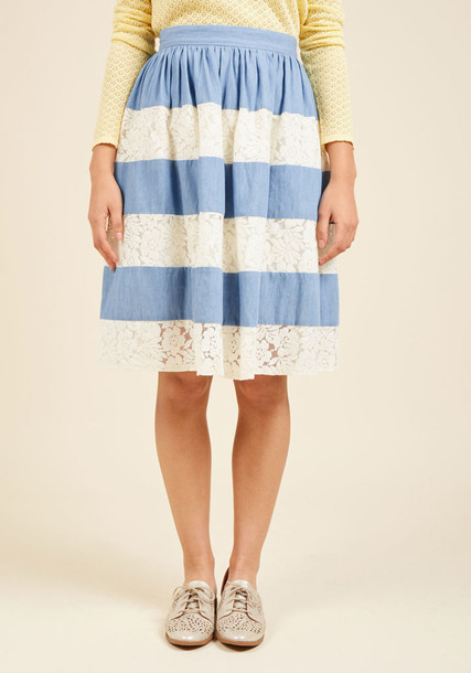 90200S-P skirt striped skirt lace floral blue