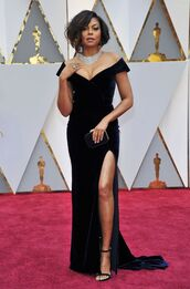 dress,bustier,bustier dress,slit dress,maxi dress,black dress,red carpet dress,Oscars 2017,velvet,velvet dress,taraji p. henson,oscars