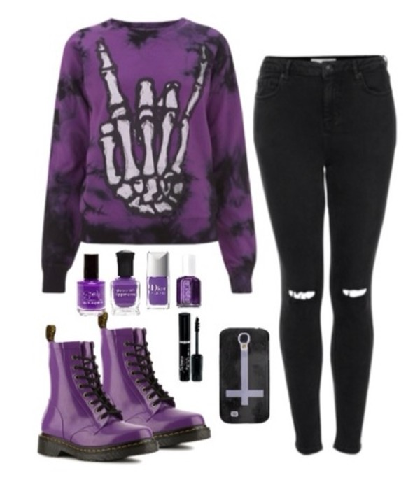 jacket purple techno hand skeleton skull bones punk goth grunge doc martins black leggings converse DrMartens sweater jeans goth skeleton hand goth girl goth style goth sweater dark girl shoes boots drmartins phone cover phone cover cross nail polish